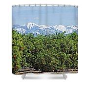 Dm6850-e Orange Grove And The Sierra Nevada Ca Shower Curtain