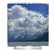 Dm9234 Clouds Over Mt. Moran H Shower Curtain