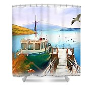 Do-00095 Boat Near Rotorua Shower Curtain