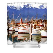 Do-00096 Boats In Nelson Bay Early 90s Shower Curtain