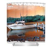 Do-00108 Boat At Sunset Shower Curtain