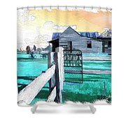 Do-00120 Side Gate In A Farm Shower Curtain