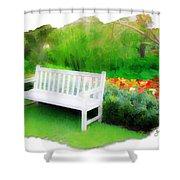 Do-00138 White Bench Shower Curtain