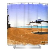 Do-00155 Beach At Royal Mirage Hotel Shower Curtain