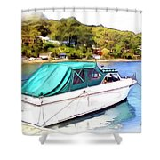 Do-00276 Green Boat In Killcare Shower Curtain