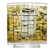 Do-00322 An Old Door And Wall Shower Curtain