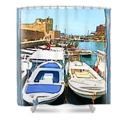 Do-00347 Boats In Byblos Port Shower Curtain