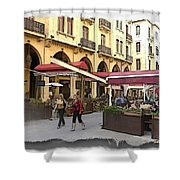Do-00352 Downtown Coffee Shops Shower Curtain