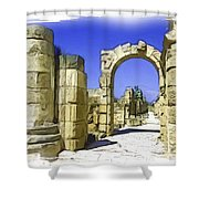 Do-00407 Roman Portico In Tyr Shower Curtain