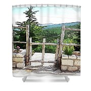Do-00458 Fence Mar Charbel Chabel Shower Curtain