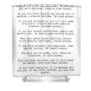 Do It Anyway By Mother Teresa #minimalism #inspirational Shower Curtain