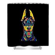 Doberman Dog Breed Head Breed Pet True Friend Color Designed Shower Curtain