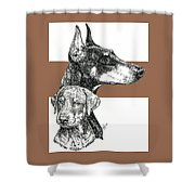 Cropped Doberman Pinscher And Pup Shower Curtain