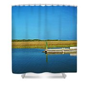 Dock And Marshes Shower Curtain