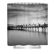 Dock At Autumn Shower Curtain