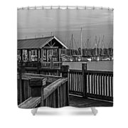 Dock At Mandarin Park Black And White Shower Curtain