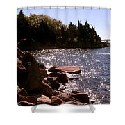 dock at Mount Hope Farm Bristol Rhode Island Shower Curtain