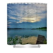 Dock At Shipshewana Lake Shower Curtain
