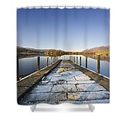 Dock In A Lake, Cumbria, England Shower Curtain by John Short
