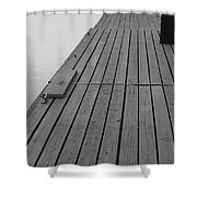 Dock In Black And White Shower Curtain