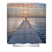 Dock On Arcata Bay At Twilight Shower Curtain