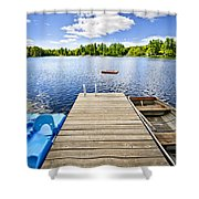 Dock On Lake In Summer Cottage Country Shower Curtain