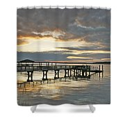 Dock Reflections Shower Curtain