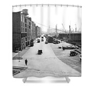 Dock Scene In New York City Shower Curtain
