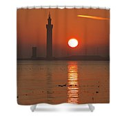Dock Tower Sunrise Shower Curtain