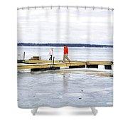 Dock Walking  Shower Curtain