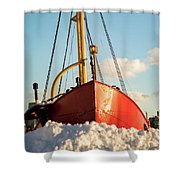 Docked At The Snowfront Shower Curtain