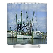 Docked In Port Orange Shower Curtain