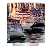 Docked Yatchs Shower Curtain by Carlos Caetano