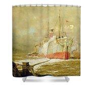 Docking A Cargo Ship Shower Curtain by William Lionel Wyllie