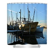 Docks At Darien  Shower Curtain