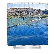 Docks Form Perimeter Of Dierkes Lake In Snake River  Near Twin Falls-idaho  Shower Curtain