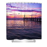 Dockside Sunset Shower Curtain