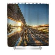 Dockside Sunset Shower Curtain