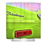 Dodge Challenger In Sublime Green Shower Curtain