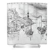 Doellan Sur Mer, Le Port Shower Curtain