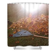 Dog And Autumn Leaves Shower Curtain