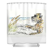 Dog By The Sea Shower Curtain