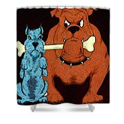Dog Fight Stand Off Shower Curtain