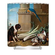 Dog Guarding A Hunting Trophy Shower Curtain