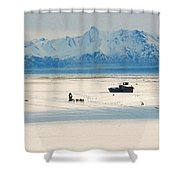 Dog Musher At Cook Inlet - Alaska Shower Curtain