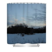 Dog On A Winter Morning Shower Curtain