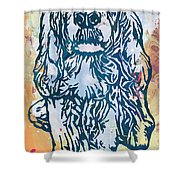 Dog Pop Etching Art Poster Shower Curtain