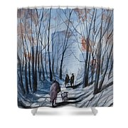 Dog Walking 2, Watercolor Painting Shower Curtain