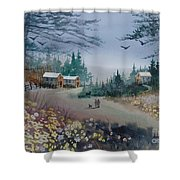 Dog Walking, Watercolor Painting  Shower Curtain