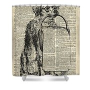 Dog With A Picnic Basket Shower Curtain